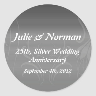 Silver Swirls Anniversary Save the Date Classic Round Sticker