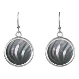 Silver Swirls Ornament Balls Earrings