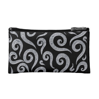 Silver Swirls Pattern Makeup Bag