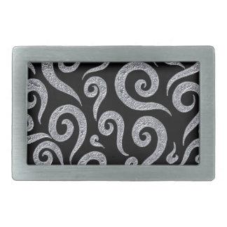 Silver Swirls Pattern Rectangular Belt Buckle