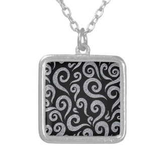 Silver Swirls Pattern Silver Plated Necklace