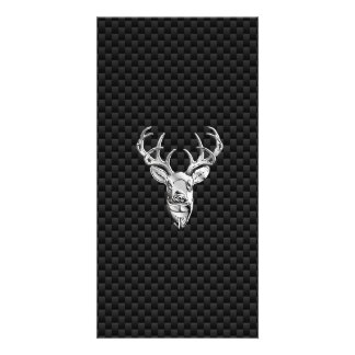 Silver Symbolic Deer on Carbon Fiber Style Print Photo Card