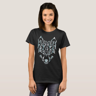 silver symmetric tribal wolf T-Shirt