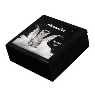 Silver Tabby Angel Cat Custom Name Gift Box