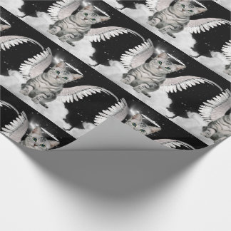 Silver Tabby Angel Cat with Halo and Wings Wrapping Paper