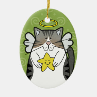 Silver Tabby Angel Cat with Star Ornament