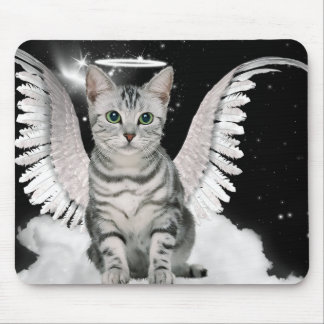 Silver Tabby Angel Cat with Wings and Halo Mouse Pad