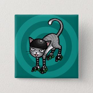 Silver Tabby on RollerSkates 15 Cm Square Badge