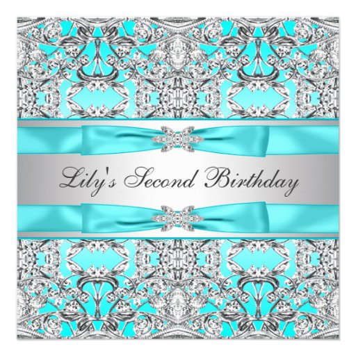 Silver Teal Blue Girls Birthday Party Invitation