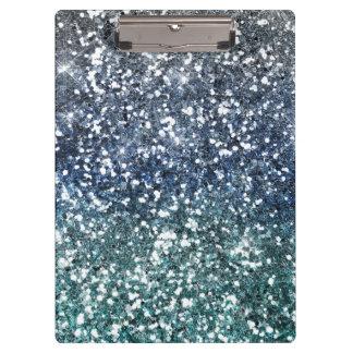 Silver Teal Blue Glitter Look Clipboard