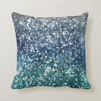 Silver Teal Blue Glitter Look Cushion