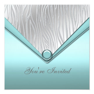 Silver Teal Blue Party 13 Cm X 13 Cm Square Invitation Card