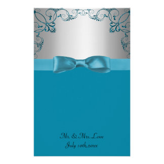 Silver & Teal Blue Scrollwork Wedding Personalised Stationery