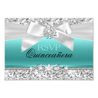 Silver Teal Glitter & Jewel Bow Quinceanera RSVP 9 Cm X 13 Cm Invitation Card