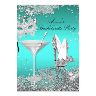 Silver Teal Mask & Jewel Lace Bachelorette Party 13 Cm X 18 Cm Invitation Card