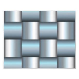 Silver & Teal Metallic Square Collage Photo Print