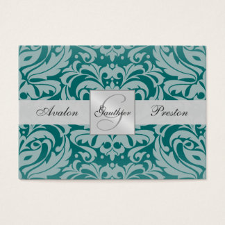 Silver & Teal Monogram Damask Wedding RSVP Card