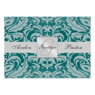Silver & Teal Monogram Damask Wedding RSVP Card Pack Of Chubby Business Cards
