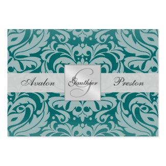 Silver & Teal Monogram Damask Wedding RSVP Card Business Card Template