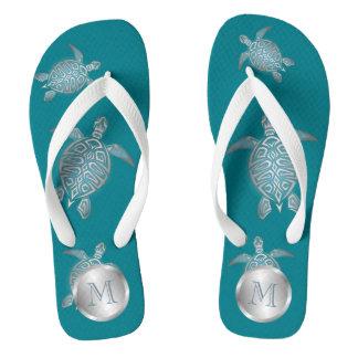 Silver Teal Sea Turtle Thongs