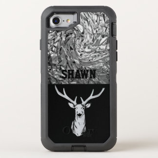 Silver Textured Stag Deer Hunting Phone OtterBox Defender iPhone 7 Case