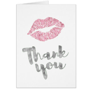 silver thank you calligraphy pink lipstick kiss card