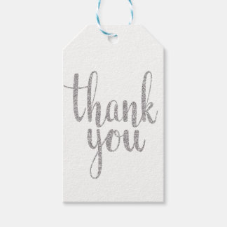 Silver thank you favor tags, glitter, vertical gift tags