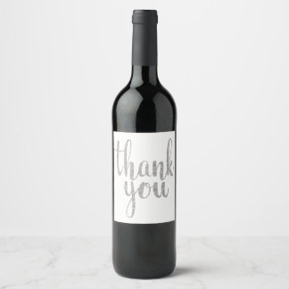 Silver thank you wine labels, glitter wine label