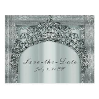 Silver Tiara Crown & Diamond Bling Save the Date Postcard