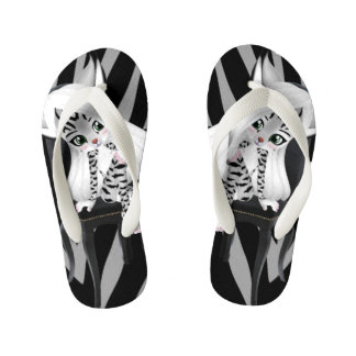 Silver Tiger Stripes and Cartoon Cat Girl Kid's Thongs