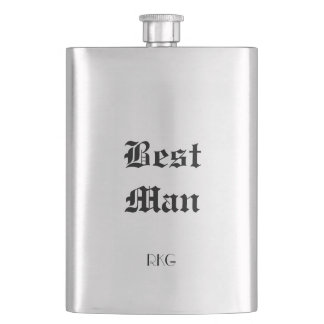 Silver Tone Best Man Bridal Monogram Custom Flask