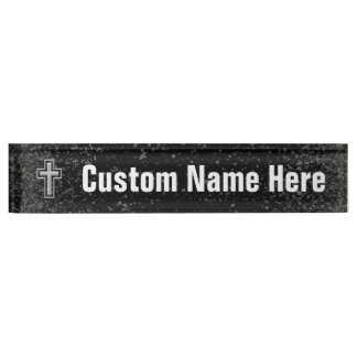 Silver Tone Christian Cross on Black Sparkle Nameplate
