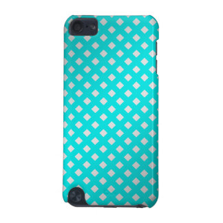 silver & turquoise diagonal grid pattern iPod touch 5G covers