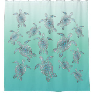 Silver Turquoise Sea Turtles Pattern Shower Curtain