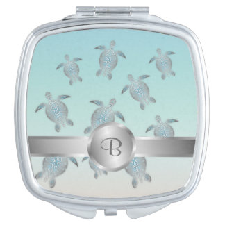 Silver Turtles Beach Style Compact Mirrors