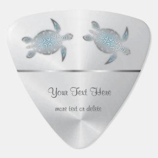 Silver Turtles Blue Gradient Monogram Plectrum