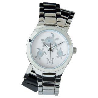 Silver Turtles Monogram Watch