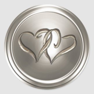 Silver Two Hearts Envelope Seal Round Sticker