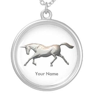 Silver Unicorn Round Pendant Necklace