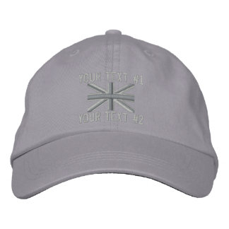 Silver Union Jack Flag England Swag Embroidery Embroidered Baseball Cap