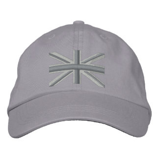 Silver Union Jack Flag England Swag Embroidery Embroidered Cap