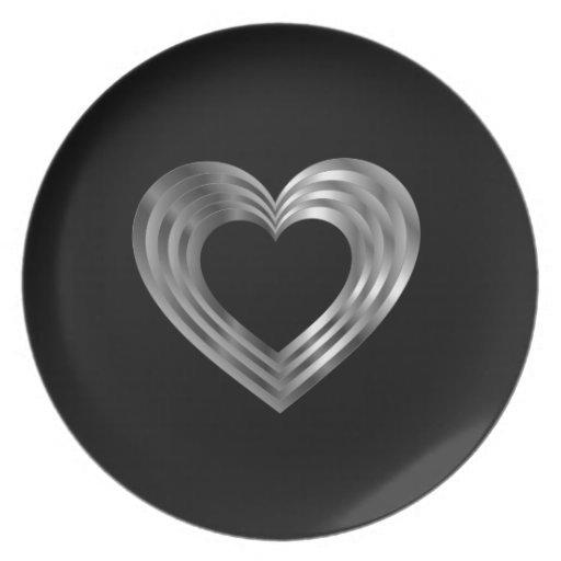 Silver Valentine heart Dinner Plate