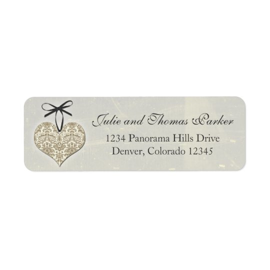 Silver Vintage Damask Heart Wedding Return Address Return Address Label