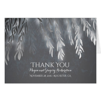 Silver Vintage Willow Tree Wedding Thank You Card