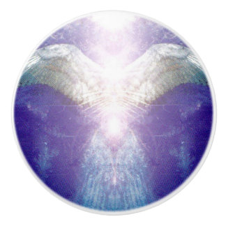 Silver violet angel ceramic knob