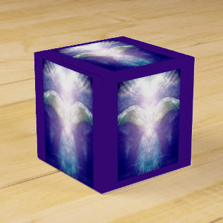Silver violet angel cube box