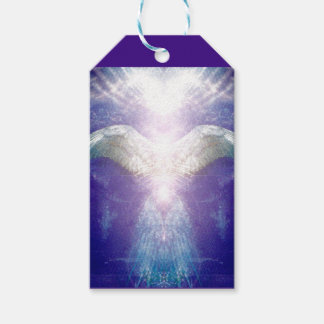 Silver violet angel gift tag