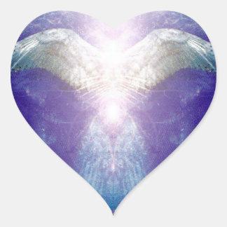 Silver violet angel heart sticker