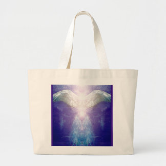 Silver violet angel large tote bag