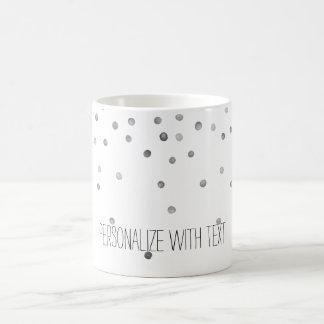 Silver Watercolor Confetti Dots Basic White Mug